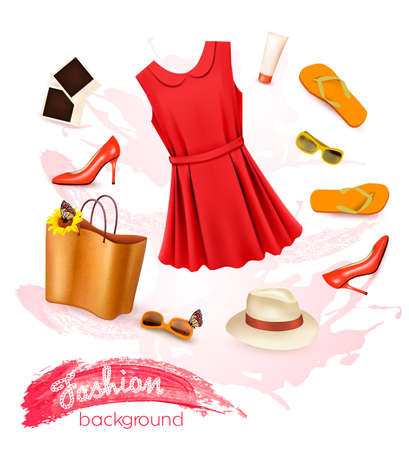 Collage of summer clothing and accessories. Vector.