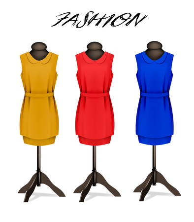 red dress: Fashion background with colorful dresses. Vector.