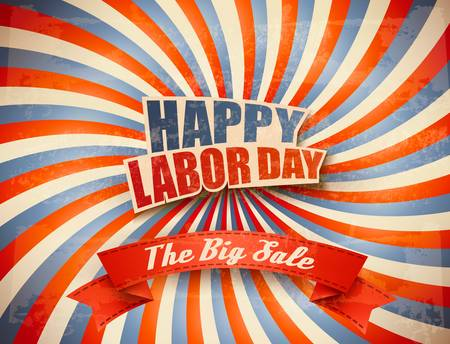 Labor Day Sale Retro Background. Vector.