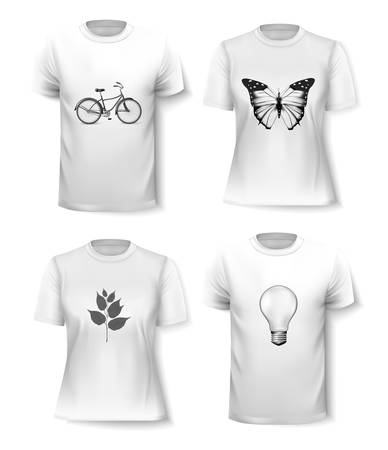 short sleeve: T-shirt template set for men and women. Vector Illustration