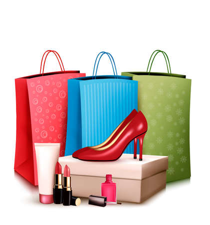 make up products: Red shoes and cosmetics with colorful shopping bags. Concept of sale. Vector.
