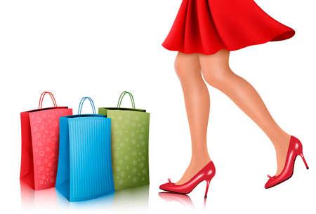 alto: Compras mujer con vestido rojo y zapatos de tacón alto con bolsas de la compra. Ilustración del vector.