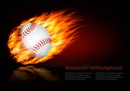 炎のボールと野球の背景。
