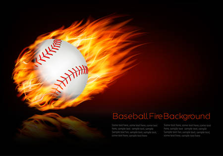 fire ball: Baseball background with a flaming ball.  Illustration
