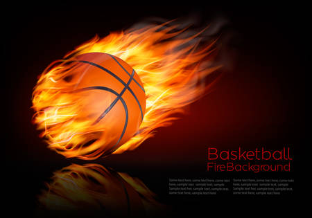 flames icon: Basketball background with a flaming ball.