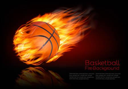 llamas de fuego: Fondo del baloncesto con una bola de fuego.