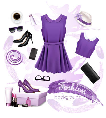 fashion clothing: Collage of fashion female accessories.  Illustration