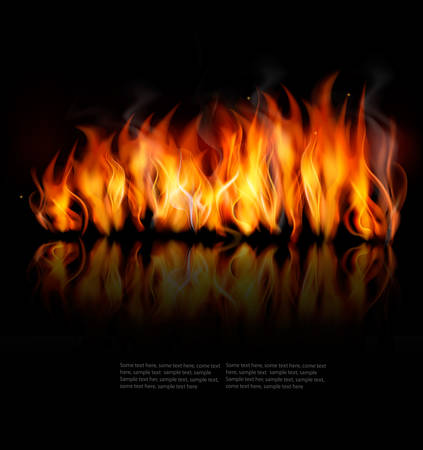 Fire  on black background.