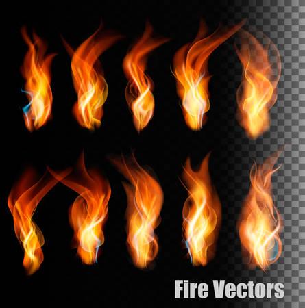 llamas de fuego: Fuego en el fondo transparente. Vectores