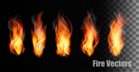 Fire on transparent background. Ilustrace