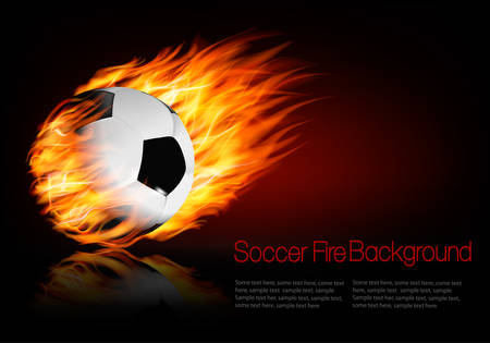 Soccer background with a flaming ball.
