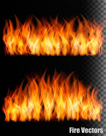 Two banners with fire on black background.