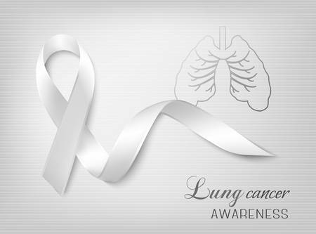 lung: Lung cancer awareness ribbon. Vector.