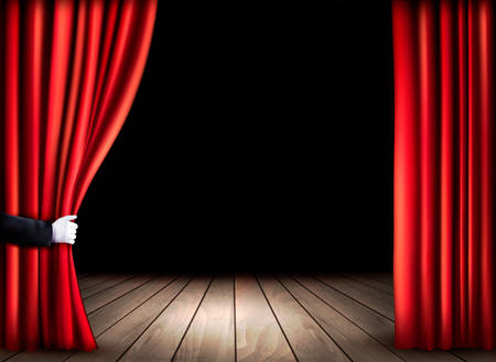 stage: Theater stage with wooden floor and open red curtains. Vector.