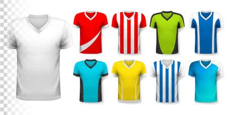 Sammlung von verschiedenen Fußballtrikots. Das T-Shirt ist transparent und kann als Vorlage mit eigenem Design verwendet werden. Vektor.