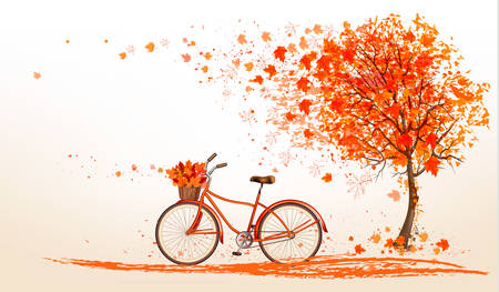 Autumn background with a tree and a bicycle. Vector. Çizim