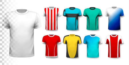 Set of colorful soccer jerseys. The T-shirt is transparent and can be used as a template with your own design. Vector. Illusztráció
