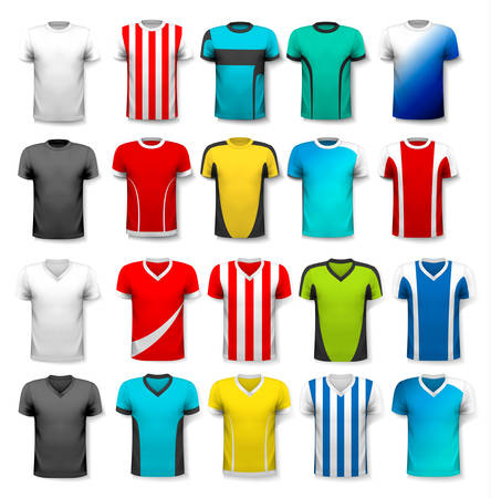 sports icon: Collection of various soccer jerseys. The T-shirt is transparent and can be used as a template with your own design. Vector.