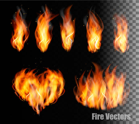 Fire vectors on transparent background. Vettoriali