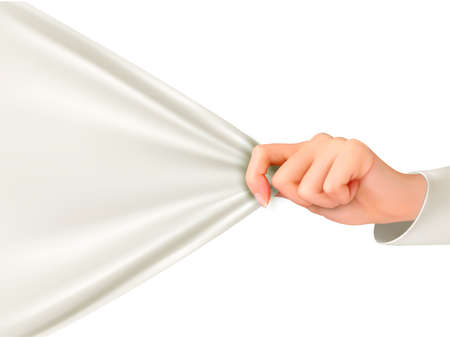 white cloth: Hand tugging a white cloth with space for text. Vector. Illustration