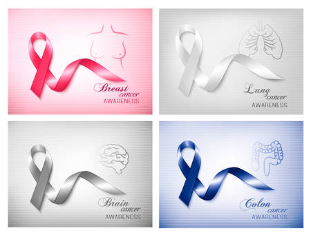 colon cancer: Four banners with different cancer awareness ribbons. Vector. Illustration