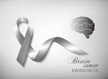 Brain cancer awareness ribbon. Vector