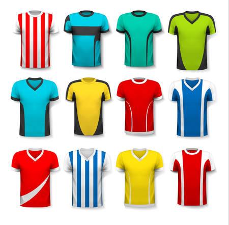 uniforme de futbol: Colección de varias camisetas de fútbol. La camiseta es transparente y se puede utilizar como una plantilla con su propio diseño. Vector. Vectores