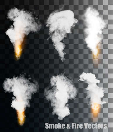 Smoke and fire vectors on transparent background.