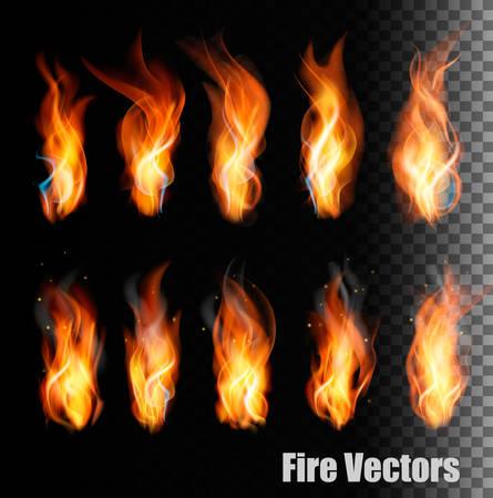 Fire vectors on transparent background. Stock Illustratie