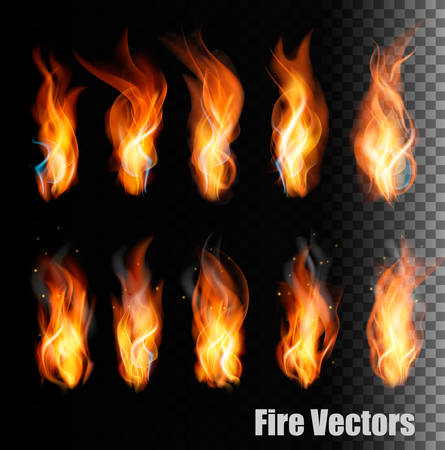 Fire vectors on transparent background. Illustration