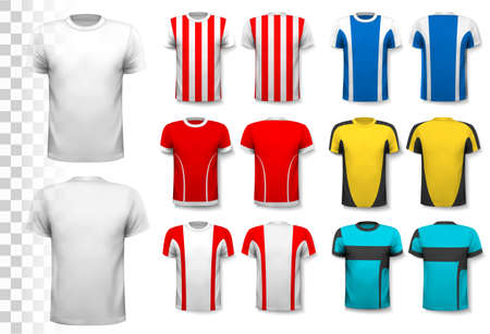 woman white shirt: Collection of various soccer jerseys. The T-shirt is transparent and can be used as a template with your own design. Vector.
