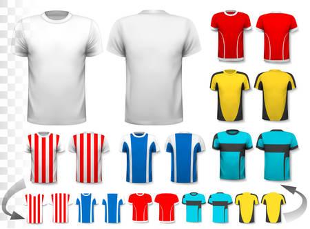 다양한 축구 유니폼의 컬렉션입니다. T 셔츠는 투명하고 당신의 자신의 디자인 템플릿으로 사용할 수 있습니다. 벡터.