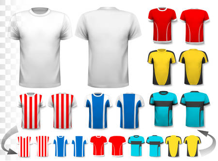 Collection of various soccer jerseys. The T-shirt is transparent and can be used as a template with your own design. Vector. Reklamní fotografie - 45944834
