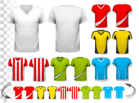 camisas: Colección de varias camisetas de fútbol. La camiseta es transparente y se puede utilizar como una plantilla con su propio diseño. Vector. Vectores