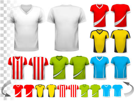 t shirt design: Collection of various soccer jerseys. The T-shirt is transparent and can be used as a template with your own design. Vector.