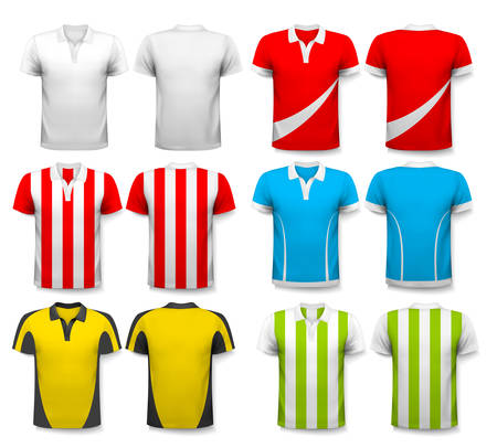 premier league: Collection of various soccer jerseys. The T-shirt is transparent and can be used as a template with your own design. Vector.