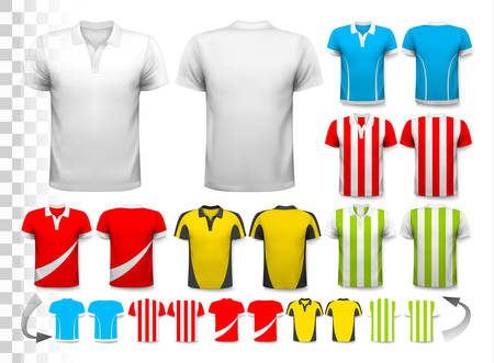 Sammlung von verschiedenen Fußball Trikots. Das T-Shirt ist durchsichtig und kann als Vorlage mit Ihrem eigenen Design verwendet werden. Vector. Standard-Bild - 45944839