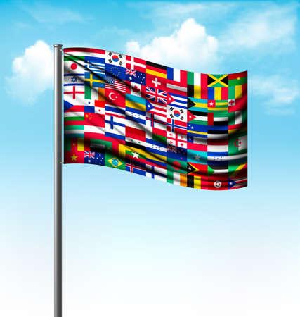 World flags on a big flag. Vector.