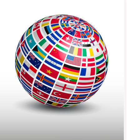 Globe made out of world flags. Vector.