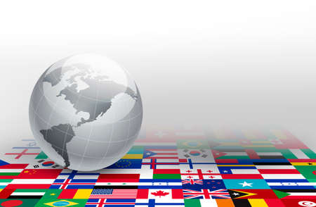 all european flags: World globe on a background made of flags. Vector.