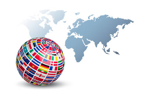 Globe made out of flags on a world map background. Vector. Vettoriali