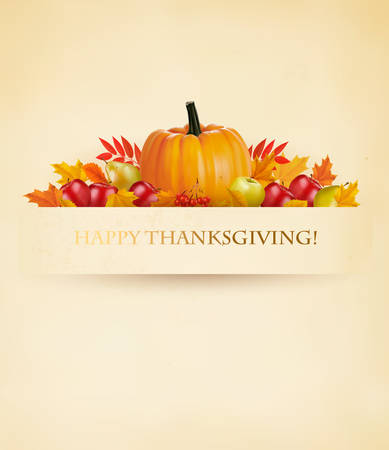 background orange: Retro Happy Thanksgiving Background. Vector.