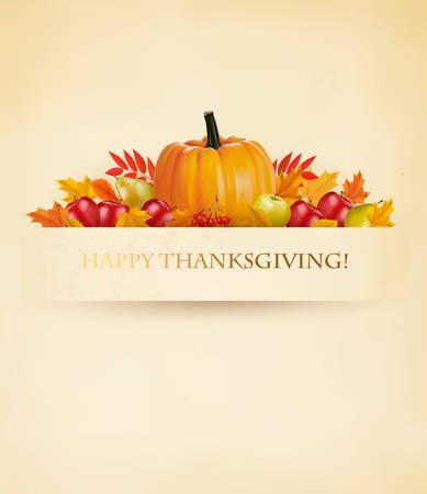 Sfondo Retrò Happy Thanksgiving. Vettore.