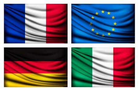 all european flags: Four flags - EU, Italy, France, Germany. Vector.