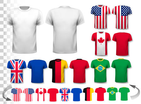 t background: Set of different T-shirts with prints of world flags. Includes a white T-Shirt transparent template for your own design. Vector.