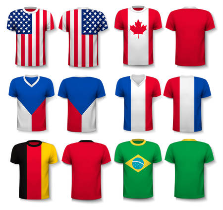world flags: Set of different T-shirts with prints of world flags. Includes a white T-Shirt transparent template for your own design. Vector.