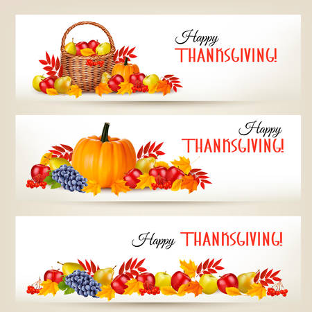 Three Happy Thanksgiving Banners. Vector. Vectores