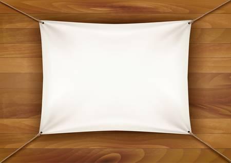 tela blanca: Pancarta de tela blanca con el espacio de texto sobre fondo de madera. Vector
