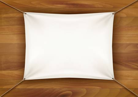white cloth: White cloth banner with text space on wooden background. Vector