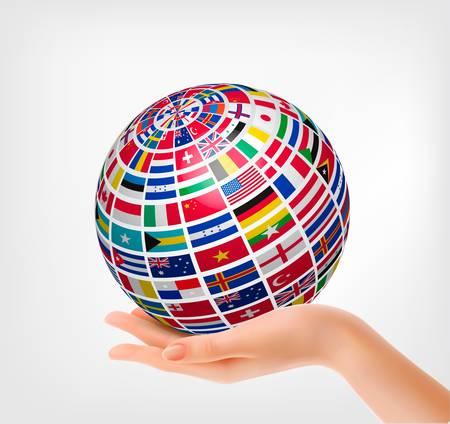 Vlaggen van de wereld op een wereldbol, gehouden in de hand. Vector illustratie